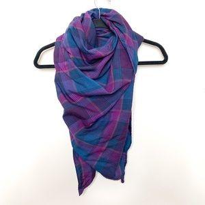 Pendleton Virgin Wool Purple Plaid Triangle Scarf